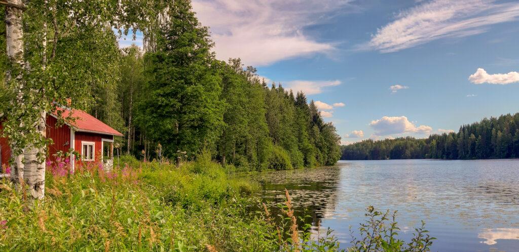 Jezero a stará sauna
